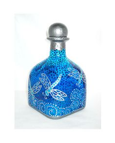 Silver Dragonfly Art on Glass Hand Painted Patron Bottle Decanter Sapphire Blue, Message in a Bottle                                                                                                                                                                                 Más