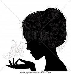 Stock Vector By Sivanova Woman Face Silhouette, Silhouette Clip Art, Free Silhouette, Silhouette Images, Profile Drawing, Face Profile, Profile Woman, Foto 3d, Acrylic Pouring Art