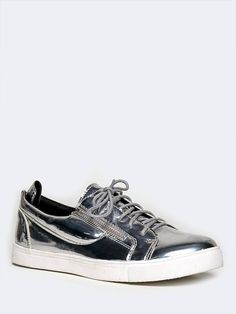 259bc77804d5d Find the opportunity to flash your personality with these silver sneakers!  - Metallic sneakers