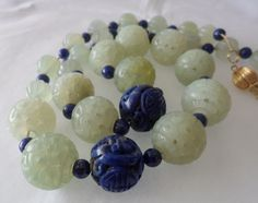 Stunning Carved Chinese Jade & Carved Lapis Beads Necklace