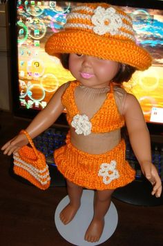 Ladyfingers' pattern for AG: mango bathing suit and sun hat on knittingparadise.com