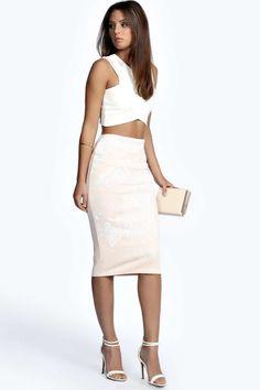 Emily Raised Print Midi Skirt alternative image
