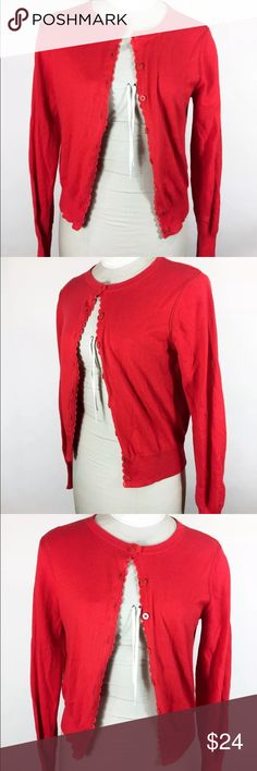 "Cabi Red Sweater 297 Button Down Cardigan Cabi Red Sweater Style 297 Button Down Cardigan Lace Details Size Large  Pit to pit (doubled)- 36""  Length- Top of Shoulder to Bottom Hem- 22""   Sleeve length- Shoulder Seam to Cuff- 25 1/2""   Width at hem (doubled)- 30""  Please check your measurements before purchasing! Looks great- so pretty with the lace and button details.  Bin#15 CAbi Sweaters Cardigans"