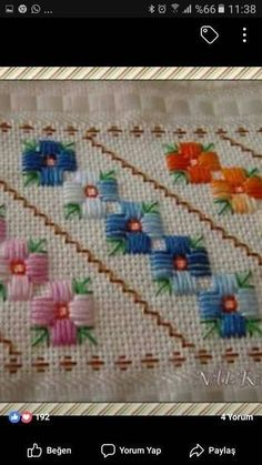 Hand Embroidery Projects, Hand Embroidery Flowers, Hand Embroidery Patterns, Embroidery Techniques, Embroidery Designs, Cross Stitch Borders, Modern Cross Stitch, Cross Stitch Designs, Cross Stitching