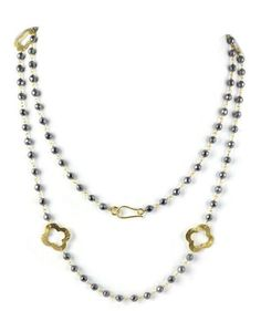 Natural Hematite Beaded Chain Clover Charm 24k Gold Plated Necklace 18  Long