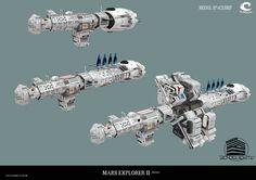 Massstabsgerechte Darstellung der Mars-Two mit ihren Modulen als 3d Renderobjekt