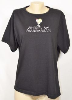 Black Where's My Margarita? Embroidered and Studded T-Shirt Approx Size Large/XL…