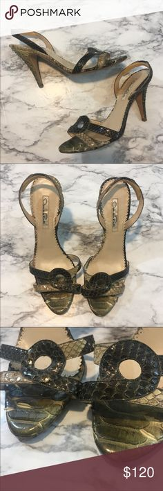 Oscar de la renta slingback heels N.472 Sexy slingback heels in good condition! Some of the scale pieces are peeling a little and the ankle straps have comfort stickers on them. No other flaws besides the peeling. Beautiful heels! Oscar de la Renta Shoes Heels