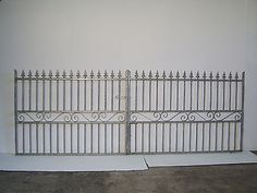 Strong wrought Iron double driveway iron gate 4ft tall 10ft 6ins   wide opening