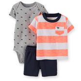 Bold stripes and a cute print are perfect for your baby boy. Soft cotton shorts match either top, so getting dressed is easy!<br>