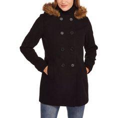 Maxwell Studio Women's Faux Wool Peacoat With Fur-Trimmed Hood Black, XL