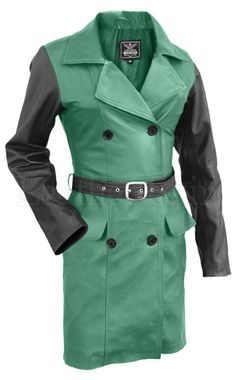 Leather Skin Women Green with Black Sleeves Genuine Leather Coat Leather Jackets Online, Green Leather Jackets, Black Leather Belt, Plus Size Leather Jacket, Coats For Women, Jackets For Women, Leather Skin, Mantel, Sleeves