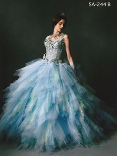 Stella de libero fantasy blue wedding dress.