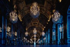 Photo by James L. Stanfield. The Halls of Mirrors reflects the reign of the Sun King in Versailles.