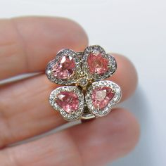 6.20ct Untreated Padparadscha Sapphire & Diamond Ring Exquisite 18k White Gold