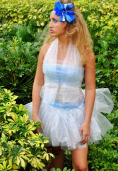 bubble wrap! What a great way to upcycle. Could be used to make prom dresses.