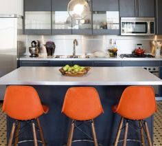 Blue And Orange House Colors Home Decor Navy Kitchen Interior