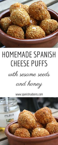 These delicious and easy to make homemade cheese puffs are smothered in honey and sesame seeds. They are a yummy tapa to whip up in no time! Authentic Spanish Recipes, Best Spanish Food, Tapas Recipes, Sangria Recipes, Dessert Recipes, Spanish Cheese, Spanish Tapas, Cheese Puffs, Cheese Food