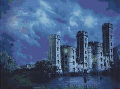 Castle by Moonlight Counted Cross Stitch Pattern / Chart, Instant Digital Download  (AP109) Counted Cross Stitch Patterns, Moonlight, Castle, Landscape, Stitches, Chart, Architecture, Digital, Sweet