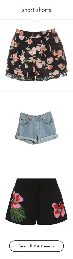 """short shorts"" by natashayoung ❤ liked on Polyvore featuring shorts, bottoms, pants, short, multi, silk shorts, elastic waist shorts, stretch waist shorts, elastic waistband shorts and silk short shorts"