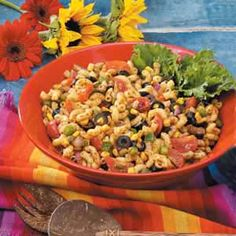 Southwestern Pasta Salad.  Serves 12-14; no mayo base so great for summer parties.