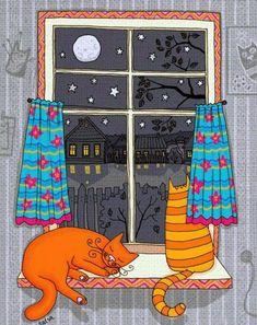 Cat in the window painting. Natalia Illarionova - So Orange