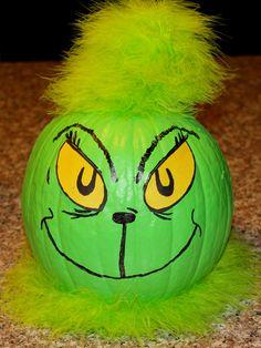The Grinch Pumpkin. Pop Culture Halloween Costume, Creative Halloween Costumes, Halloween Crafts, Halloween Decorations, Halloween Painting, Homemade Halloween, Christmas Pumpkins, Halloween Pumpkins, Fall Halloween