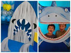 Espaço temático para fotos da festa infantil tubarão - Fotos: Denise Bastos e Pinterest