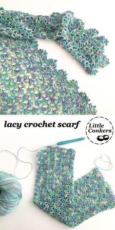 Crochet Lacy Scarf, Crochet Wrap Pattern, Crochet Shawls And Wraps, Crochet Patterns, Crochet Scarves, Crochet Shirt, Lace Scarf, Crochet Flowers, Crochet Gifts