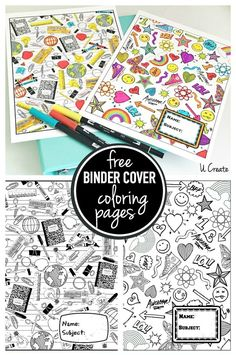 Free printable binder cover coloring doodle pages | best back to school printables