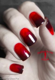 Red nails with just enough spook!
