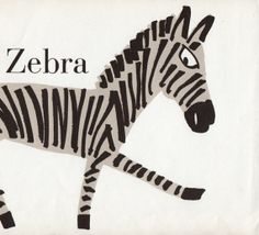 Sweet Zebra illustration nursery decor zoo 1960s Zebra illustration