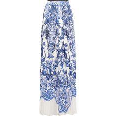 Roberto Cavalli Printed crepe de chine maxi skirt - Polyvore