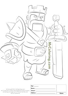 Free Printable Clash of Clans Barbarian King Coloring Pages - 1