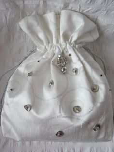 White/ivory satin and pearl drawstring pouch, hand made bag ...