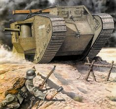 Tank Mk IV Male 'Lancashire' with unditching beam.