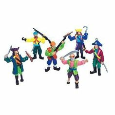 Set 12 Small Plastic Toy Pirates! Pirate Figures stand 2-3/4 inches tall (70mm), 1/24th scale by N/A. $7.00. Set of 12 fun 2-3/4 inch Pirate Figures. Six different pirates including Captain Hook, Officers, and Peg-legs.