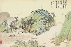 Un village au pied des montagnes et des bateaux sur un lac by Shen Zhou (Chinese, 1427–1509)