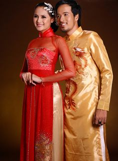 Vietnamese couple in traditional dress.