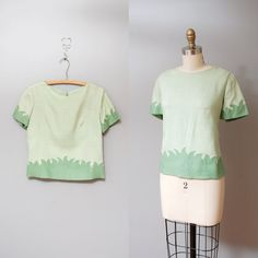 1950s Blouse  Grassy Green Embellished 50s by OldFaithfulVintage, $40.00