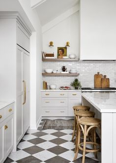 Laurie French Inspired Kitchen, Mudroom, Laundry and Pantry Renovation by ReDesign Home LLC Home Decor Kitchen, Kitchen Design, Kitchen Tile Interior, Studio Kitchen, Kitchen Ideas, Design Loft, Design Design, Graphic Design, Checkerboard Floor