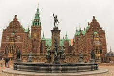 The courtyard of stunning Frederiksborg Castle near Copenhagen, Denmark on a winter day.
