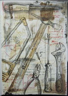 also look at the artist Jim Dine Ap Drawing, Still Life Drawing, Painting & Drawing, Sketchbook Inspiration, Art Sketchbook, Art Alevel, Mechanical Art, Minis, A Level Art