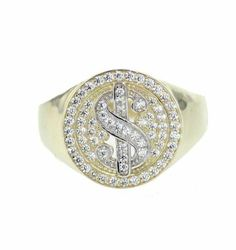 Yellow Gold Over Men's Fashion Ring With Dollar Sign Ring Diamond Pinky Ring Round Cut Diamond, Round Diamonds, Wedding Men, Wedding Rings, Fashion Rings, Men's Fashion, Mens Pinky Ring, Mens Diamond Wedding Bands, Dollar Sign