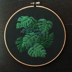 Crewel Embroidery Design Monstera leaves on black linen : Embroidery Crewel Embroidery Kits, Hand Embroidery Patterns, Cross Stitch Embroidery, Flower Embroidery, Embroidery Supplies, Embroidery Thread, Quilt Patterns, Contemporary Embroidery, Modern Embroidery