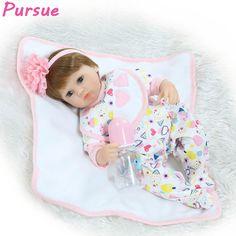(69.69$)  Watch more here  - Pursue 17 inch 43cm Silicone 100 Reborn Babies Real Baby Dolls for Sale bebe reborn menina de silicone menina boneca Baby Alive