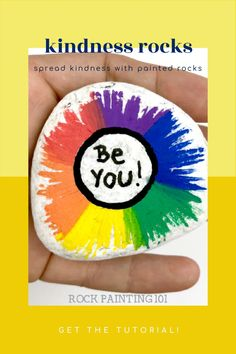 These rainbow painted rocks make fantastic kindness rocks. This tutorial will walk you through how to create this fun radial rock painting idea. Use this rainbow rock for hiding, giving as a gift, or decorating your home or office. #rainbow #paintedrock #kindnessrocks #rockpainting101 Happy Rock, Rock Painting Ideas Easy, Kindness Rocks, Stone Painting, Painted Rocks, Decorating Your Home, Rainbow, Create, Fun