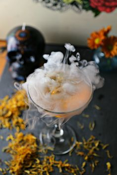 Dia de los Muertos Martini (Marigold Martini) a martini made with marigold infused vodka, perfect for Day of the dead.