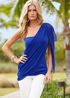 One shoulder drape top