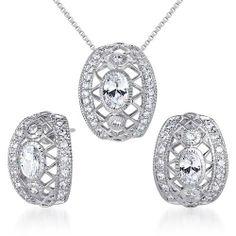 Elegant & Chic Oval Shape White CZ Pendant Earrings Set in Sterling Silver Rhodium Finish . $74.99